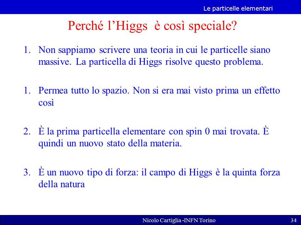 Le particelle elementari Nicolo Cartiglia -INFN Torino34 1.Non sappiamo scrivere una teoria in cui le particelle siano massive.