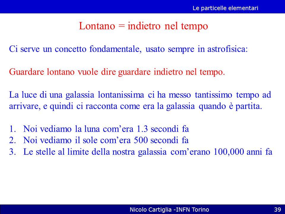 Le particelle elementari Nicolo Cartiglia -INFN Torino39 Lontano = indietro nel tempo Ci serve un concetto fondamentale, usato sempre in astrofisica: Guardare lontano vuole dire guardare indietro nel tempo.