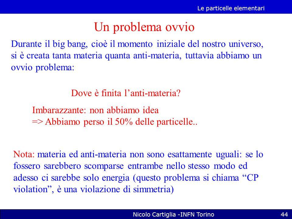 Le particelle elementari Nicolo Cartiglia -INFN Torino44 Un problema ovvio Durante il big bang, cioè il momento iniziale del nostro universo, si è creata tanta materia quanta anti-materia, tuttavia abbiamo un ovvio problema: Dove è finita l'anti-materia.