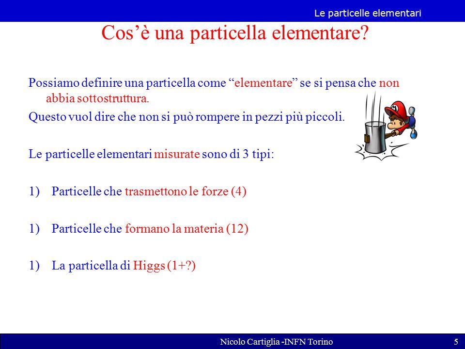 Le particelle elementari Nicolo Cartiglia -INFN Torino5 Possiamo definire una particella come elementare se si pensa che non abbia sottostruttura.