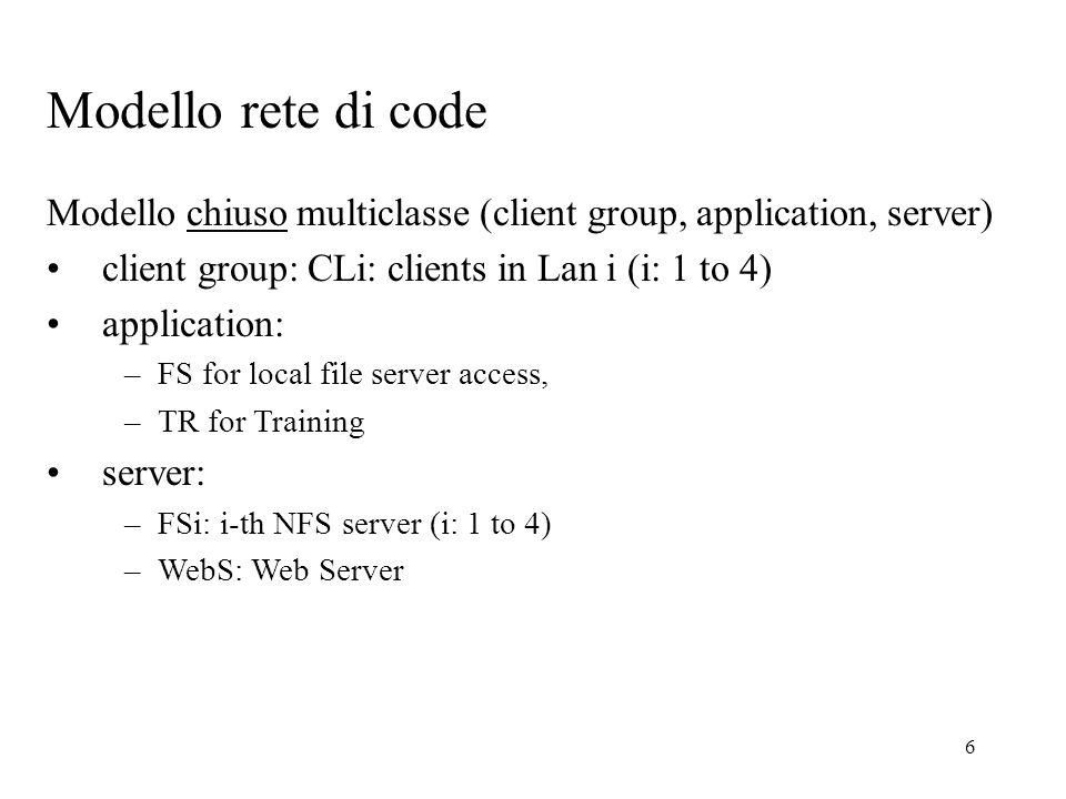 7 Tipi di classi e numero di utenti (CL1, FS, FS1)120 x 0.85 = 102 (CL2, FS, FS2)50 X 0.85 = 43 (CL3, FS, FS3)100 x 0.85 = 85 (CL4, FS, FS4)100 x 0.85 = 85 (CL1, TR, WebS)120 x 0.15 = 18 (CL2, TR, WebS)50 x 0,15 = 7 (CL3, TR, WebS)100 x 0,15 = 15 (CL4, TR, WebS)100 x 0,15 = 15