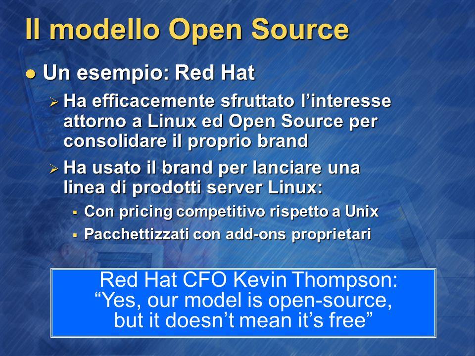 Il modello Open Source Un esempio: Red Hat Un esempio: Red Hat  Ha efficacemente sfruttato l'interesse attorno a Linux ed Open Source per consolidare il proprio brand  Ha usato il brand per lanciare una linea di prodotti server Linux:  Con pricing competitivo rispetto a Unix  Pacchettizzati con add-ons proprietari Red Hat CFO Kevin Thompson: Yes, our model is open-source, but it doesn't mean it's free