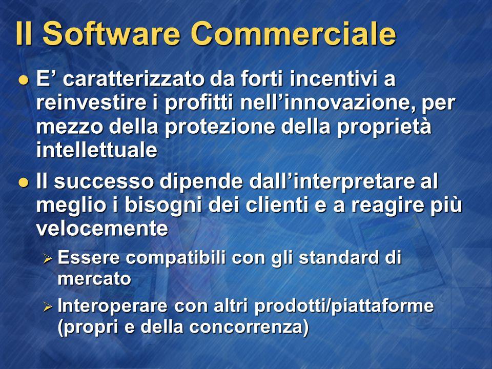 Il Software Commerciale E' caratterizzato da forti incentivi a reinvestire i profitti nell'innovazione, per mezzo della protezione della proprietà intellettuale E' caratterizzato da forti incentivi a reinvestire i profitti nell'innovazione, per mezzo della protezione della proprietà intellettuale Il successo dipende dall'interpretare al meglio i bisogni dei clienti e a reagire più velocemente Il successo dipende dall'interpretare al meglio i bisogni dei clienti e a reagire più velocemente  Essere compatibili con gli standard di mercato  Interoperare con altri prodotti/piattaforme (propri e della concorrenza)