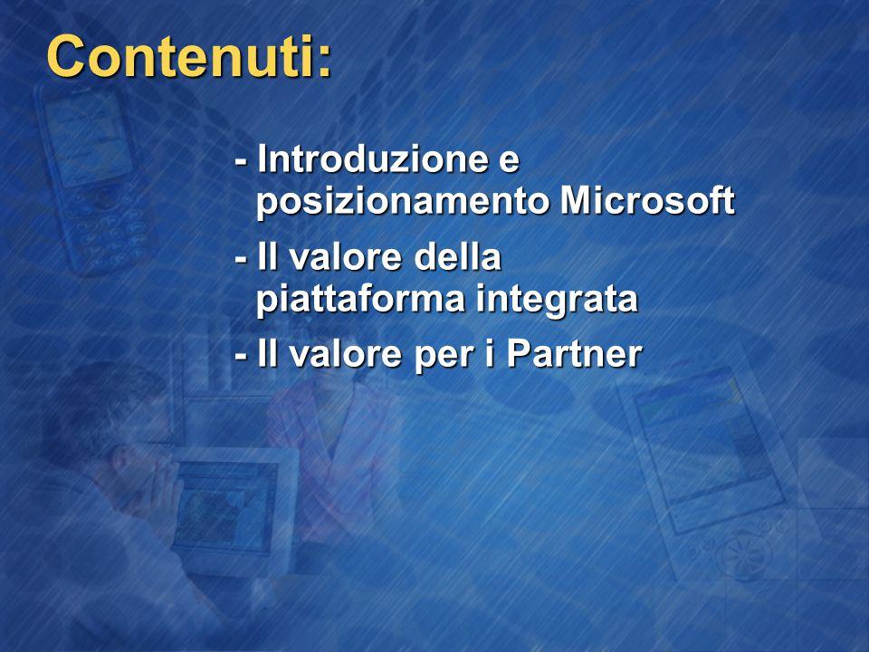 Contenuti: - Introduzione e posizionamento Microsoft - Il valore della piattaforma integrata - Il valore per i Partner