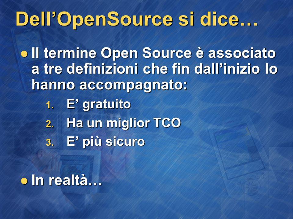 Dell'OpenSource si dice… Il termine Open Source è associato a tre definizioni che fin dall'inizio lo hanno accompagnato: Il termine Open Source è associato a tre definizioni che fin dall'inizio lo hanno accompagnato: 1.