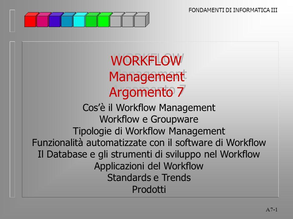 FONDAMENTI DI INFORMATICA III A7-12 Workflow Management Workflow e Groupware Groupware (Lotus Notes, Microsoft Exchange, Novell GroupWise) l abilita individui e team collegati in rete a collaborare, condividere documenti, scambiare informazioni l è progettato per il trattamento di attività generalizzate, non strutturate l è l'infrastruttura per il lavoro cooperativo l utilizza servizi sofisticati di messaggistica, e-mail, database di discussione, strumenti per la collaborazione l offre diversi livelli di gestione documentale e workflow, ma queste funzionalità sono in genere limitate e non progettate per processi strutturati
