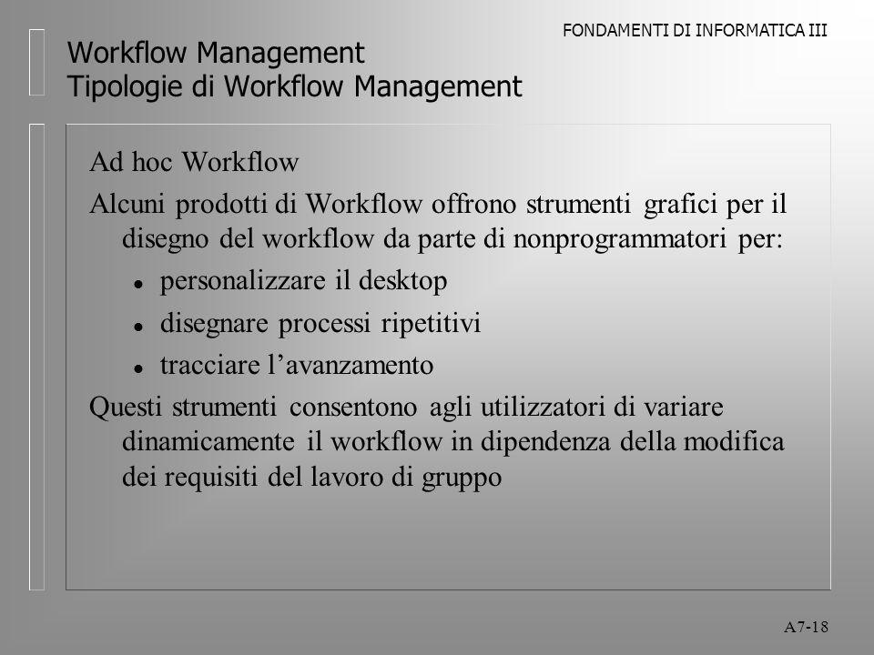 FONDAMENTI DI INFORMATICA III A7-18 Workflow Management Tipologie di Workflow Management Ad hoc Workflow Alcuni prodotti di Workflow offrono strumenti