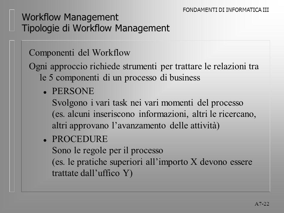 FONDAMENTI DI INFORMATICA III A7-22 Workflow Management Tipologie di Workflow Management Componenti del Workflow Ogni approccio richiede strumenti per