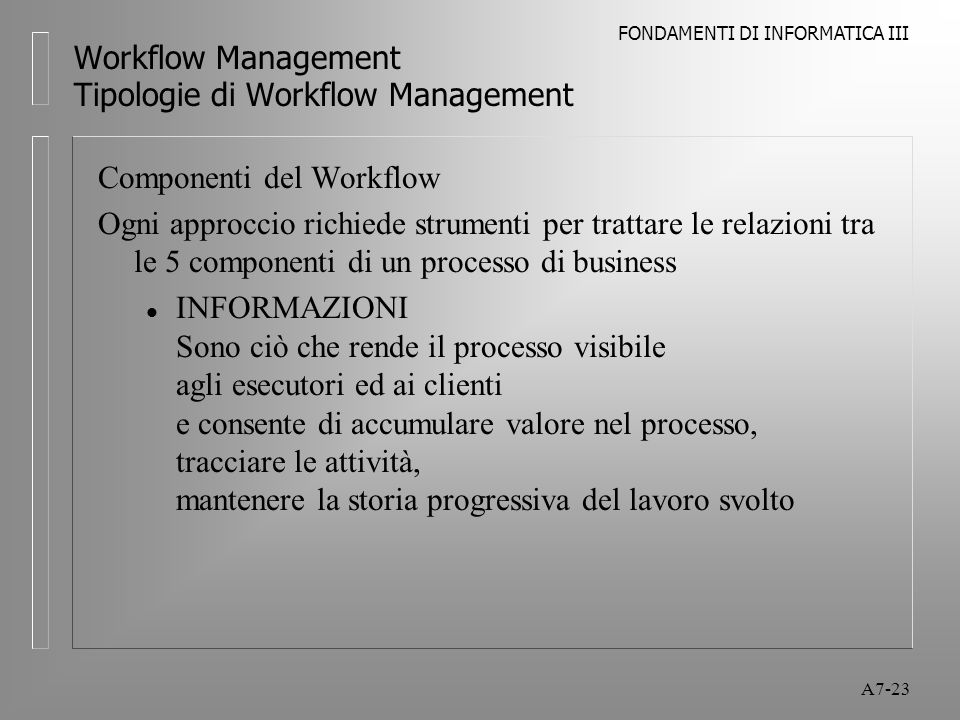FONDAMENTI DI INFORMATICA III A7-23 Workflow Management Tipologie di Workflow Management Componenti del Workflow Ogni approccio richiede strumenti per