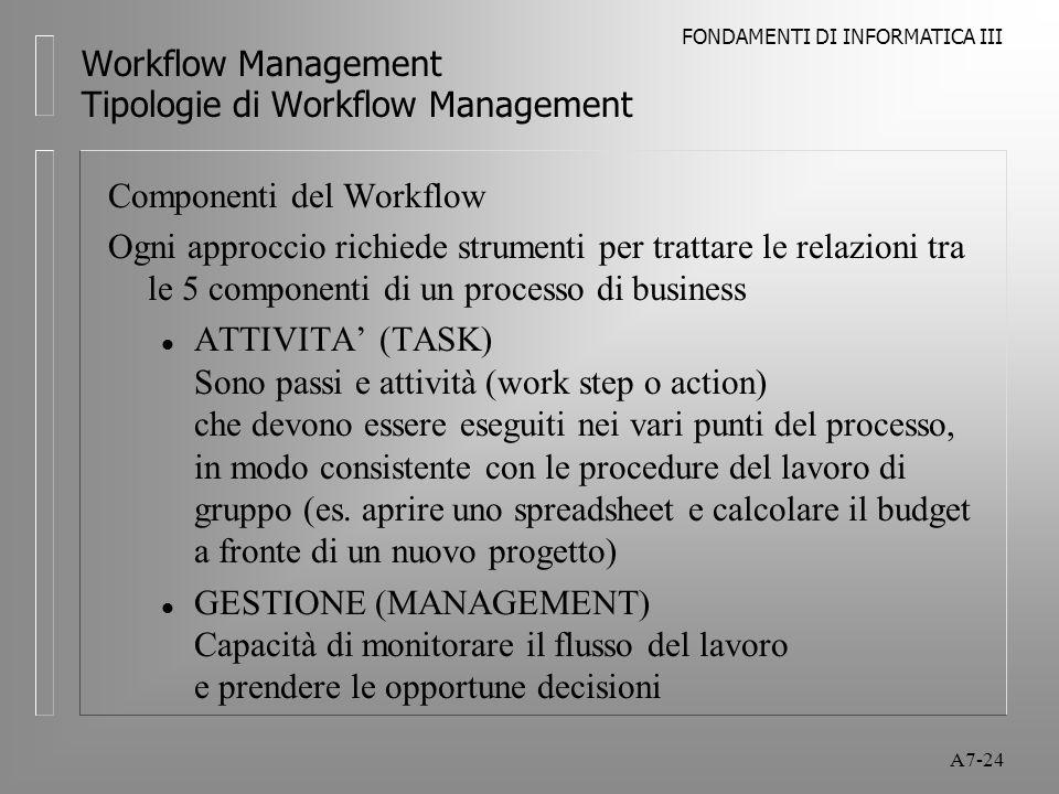 FONDAMENTI DI INFORMATICA III A7-24 Workflow Management Tipologie di Workflow Management Componenti del Workflow Ogni approccio richiede strumenti per