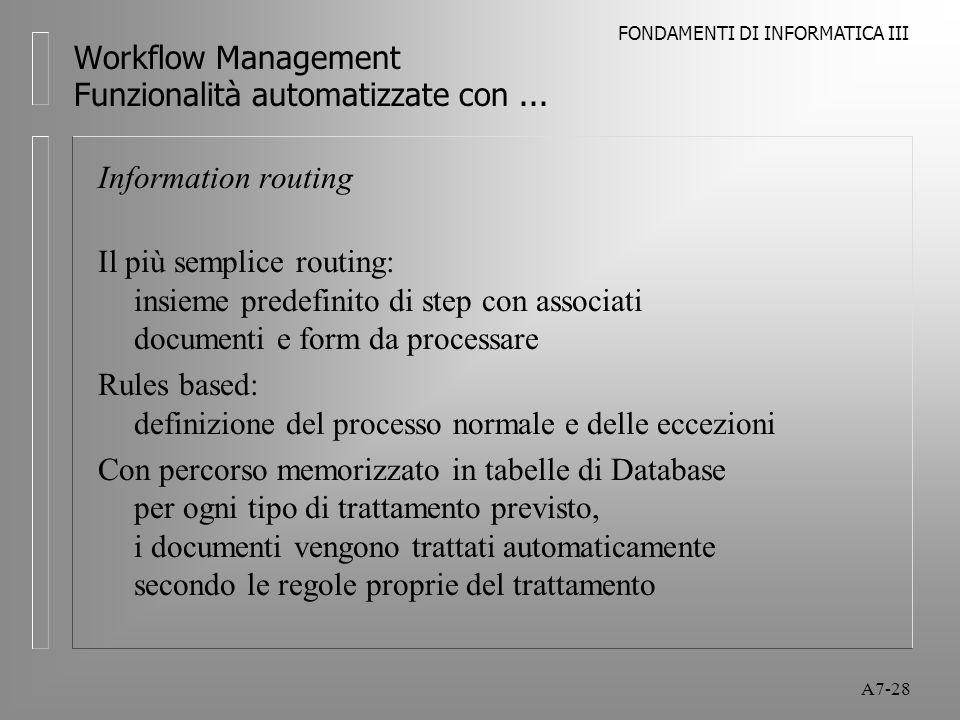 FONDAMENTI DI INFORMATICA III A7-28 Workflow Management Funzionalità automatizzate con... Information routing Il più semplice routing: insieme predefi