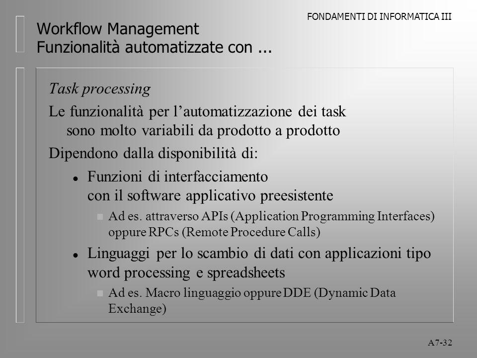 FONDAMENTI DI INFORMATICA III A7-32 Workflow Management Funzionalità automatizzate con... Task processing Le funzionalità per l'automatizzazione dei t