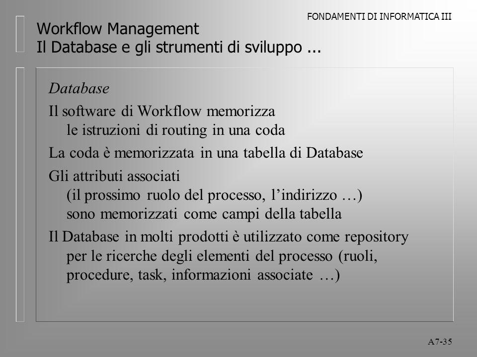 FONDAMENTI DI INFORMATICA III A7-35 Workflow Management Il Database e gli strumenti di sviluppo... Database Il software di Workflow memorizza le istru