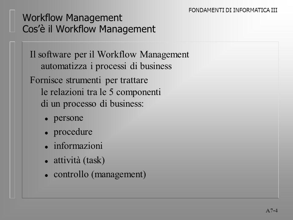 FONDAMENTI DI INFORMATICA III A7-25 Workflow Management Tipologie di Workflow Management Componenti del Workflow Il software di Workflow definisce le relazioni tra le 5 componenti: l cosa è necessario fare l in presenza di quali condizioni l con quali priorità l con supervisione l ed una certa discrezionalità