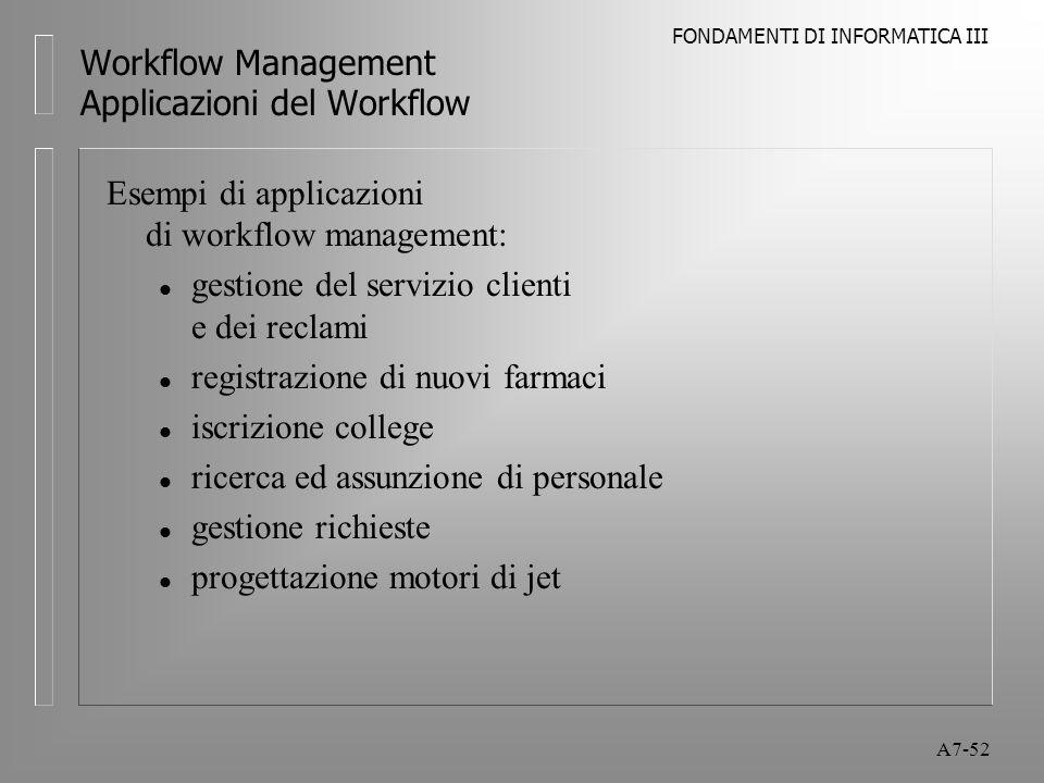 FONDAMENTI DI INFORMATICA III A7-52 Workflow Management Applicazioni del Workflow Esempi di applicazioni di workflow management: l gestione del serviz