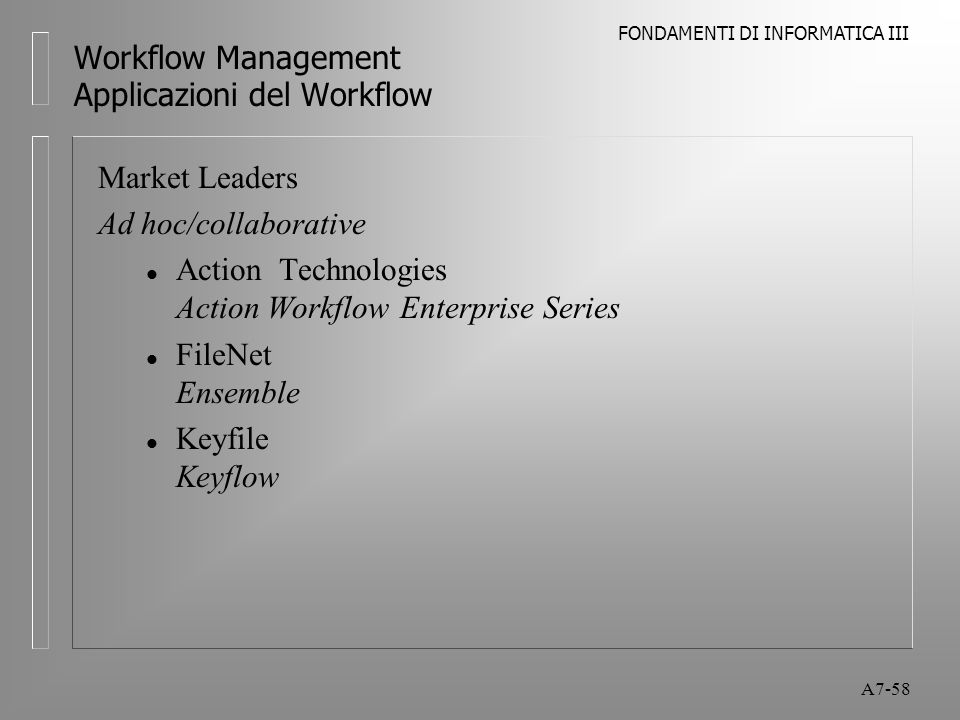 FONDAMENTI DI INFORMATICA III A7-58 Workflow Management Applicazioni del Workflow Market Leaders Ad hoc/collaborative l Action Technologies Action Wor