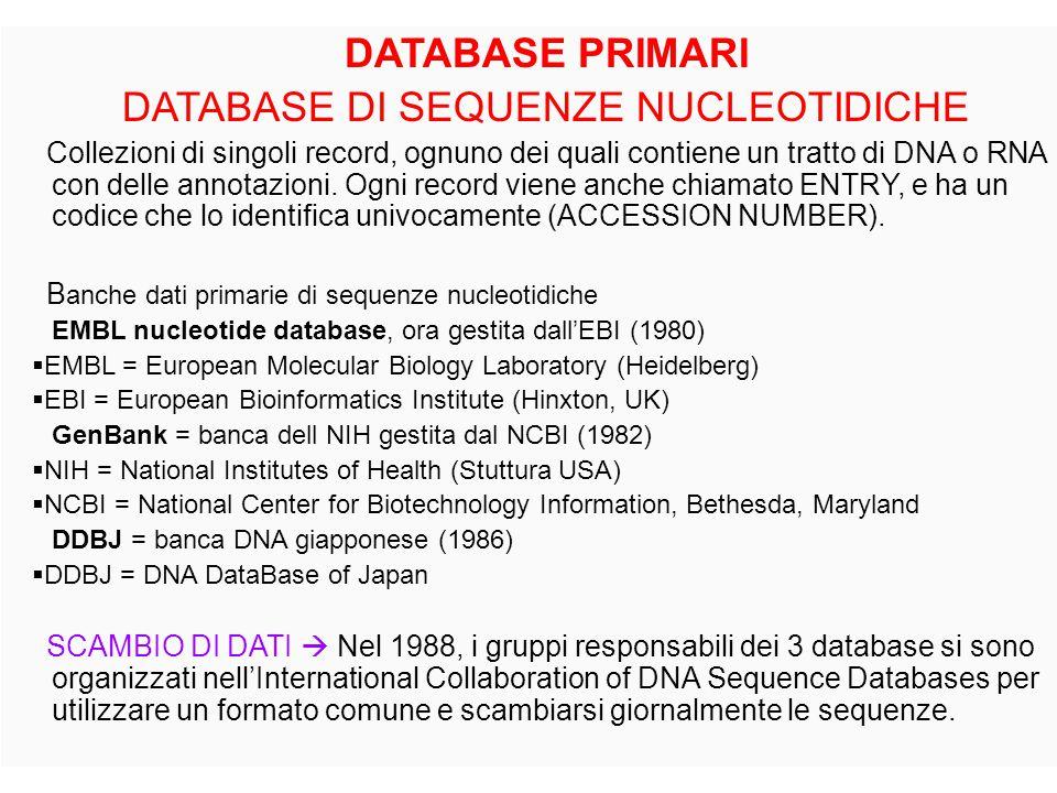 DATABASE PRIMARI DATABASE DI SEQUENZE NUCLEOTIDICHE Collezioni di singoli record, ognuno dei quali contiene un tratto di DNA o RNA con delle annotazio