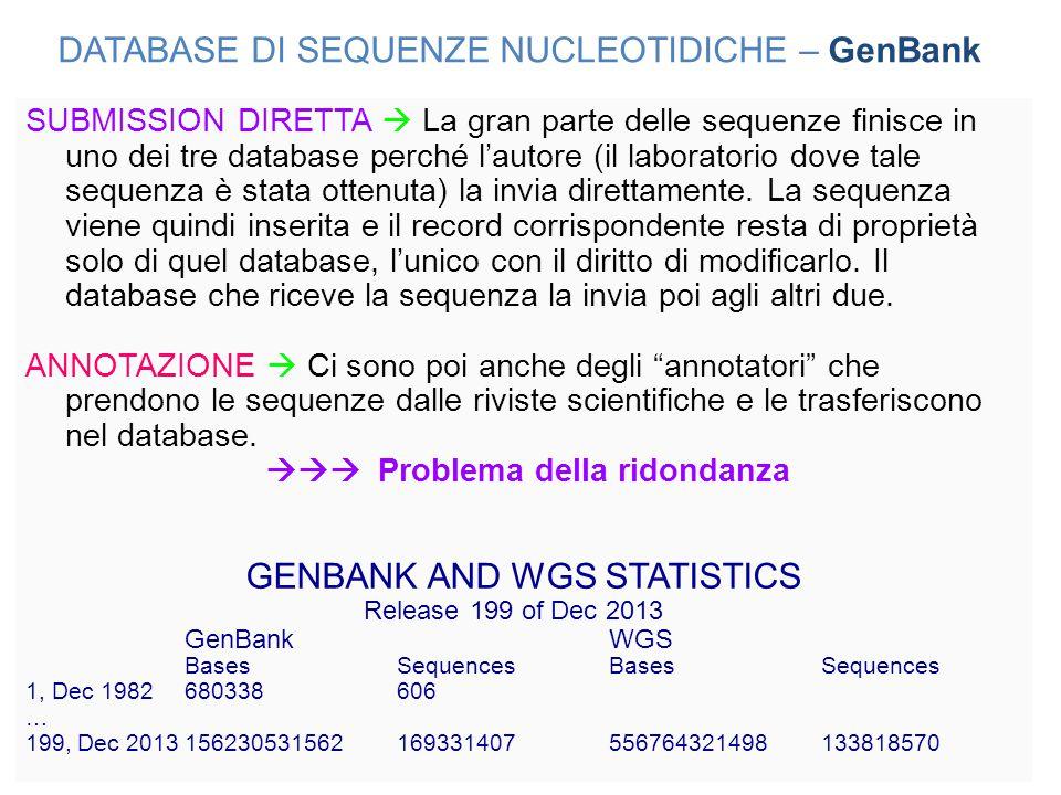 SUBMISSION DIRETTA  La gran parte delle sequenze finisce in uno dei tre database perché l'autore (il laboratorio dove tale sequenza è stata ottenuta)