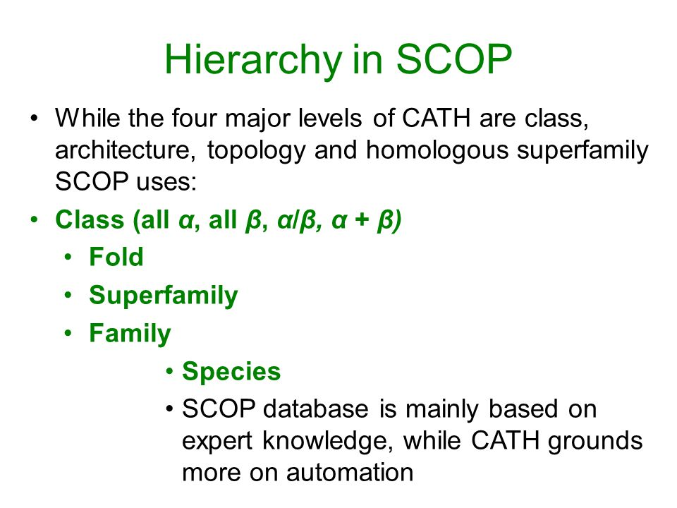 Hierarchy in SCOP While the four major levels of CATH are class, architecture, topology and homologous superfamily SCOP uses: Class (all α, all β, α/β, α + β) Fold Superfamily Family Species SCOP database is mainly based on expert knowledge, while CATH grounds more on automation