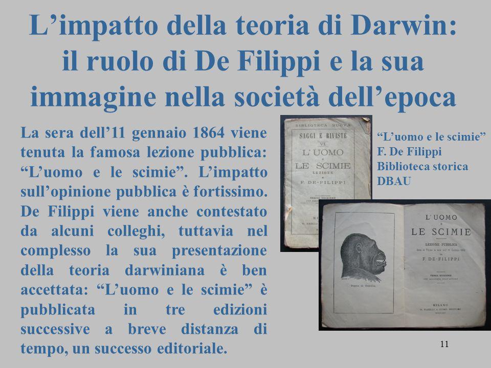 11 L'impatto della teoria di Darwin: il ruolo di De Filippi e la sua immagine nella società dell'epoca La sera dell'11 gennaio 1864 viene tenuta la famosa lezione pubblica: L'uomo e le scimie .