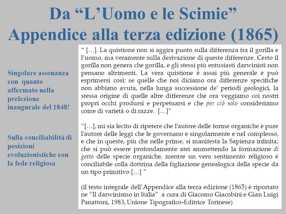 """14 Da """"L'Uomo e le Scimie"""" Appendice alla terza edizione (1865) """" […]. La quistione non si aggira punto sulla differenza fra il gorilla e l'uomo, ma v"""
