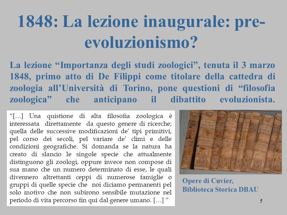 """5 1848: La lezione inaugurale: pre- evoluzionismo? La lezione """"Importanza degli studi zoologici"""", tenuta il 3 marzo 1848, primo atto di De Filippi com"""