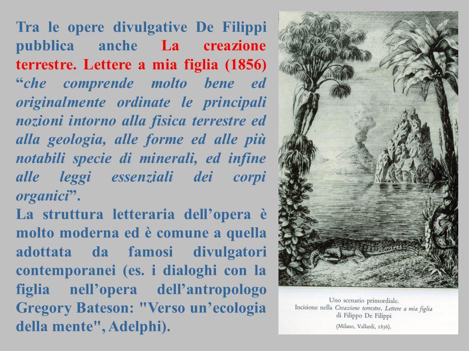 """7 Tra le opere divulgative De Filippi pubblica anche La creazione terrestre. Lettere a mia figlia (1856) """"che comprende molto bene ed originalmente or"""