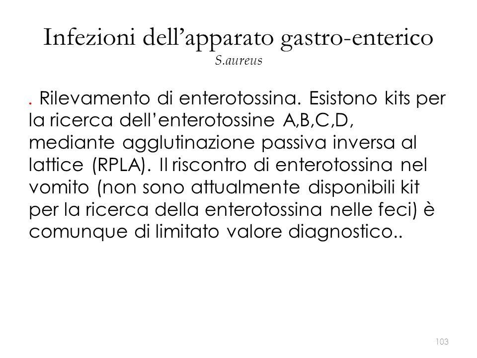 Infezioni dell'apparato gastro-enterico S.aureus. Rilevamento di enterotossina. Esistono kits per la ricerca dell'enterotossine A,B,C,D, mediante aggl