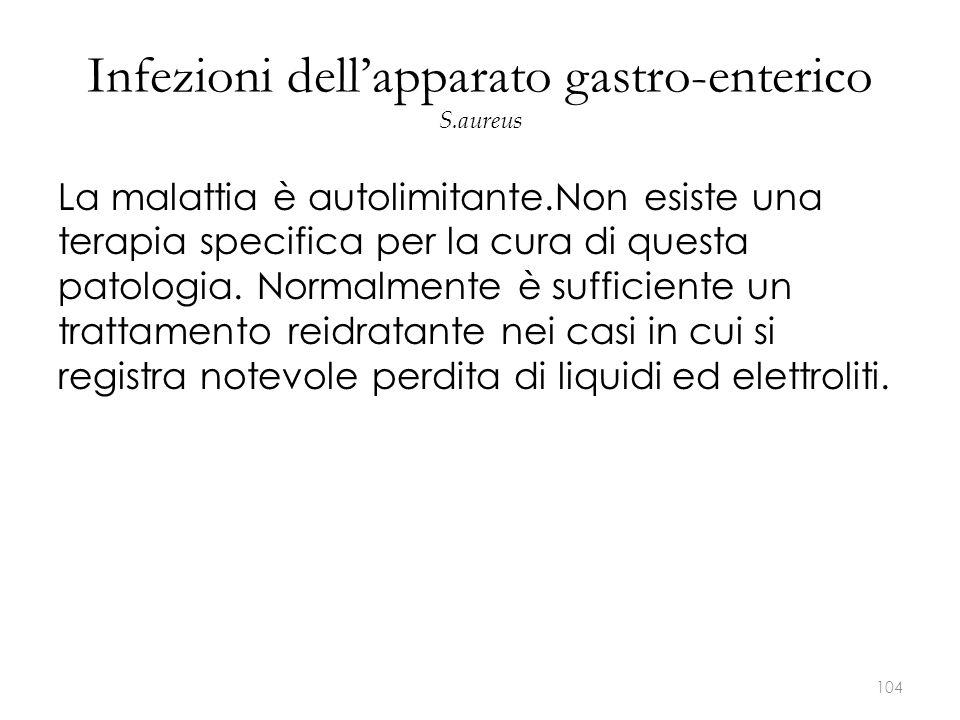 Infezioni dell'apparato gastro-enterico S.aureus La malattia è autolimitante.Non esiste una terapia specifica per la cura di questa patologia. Normalm