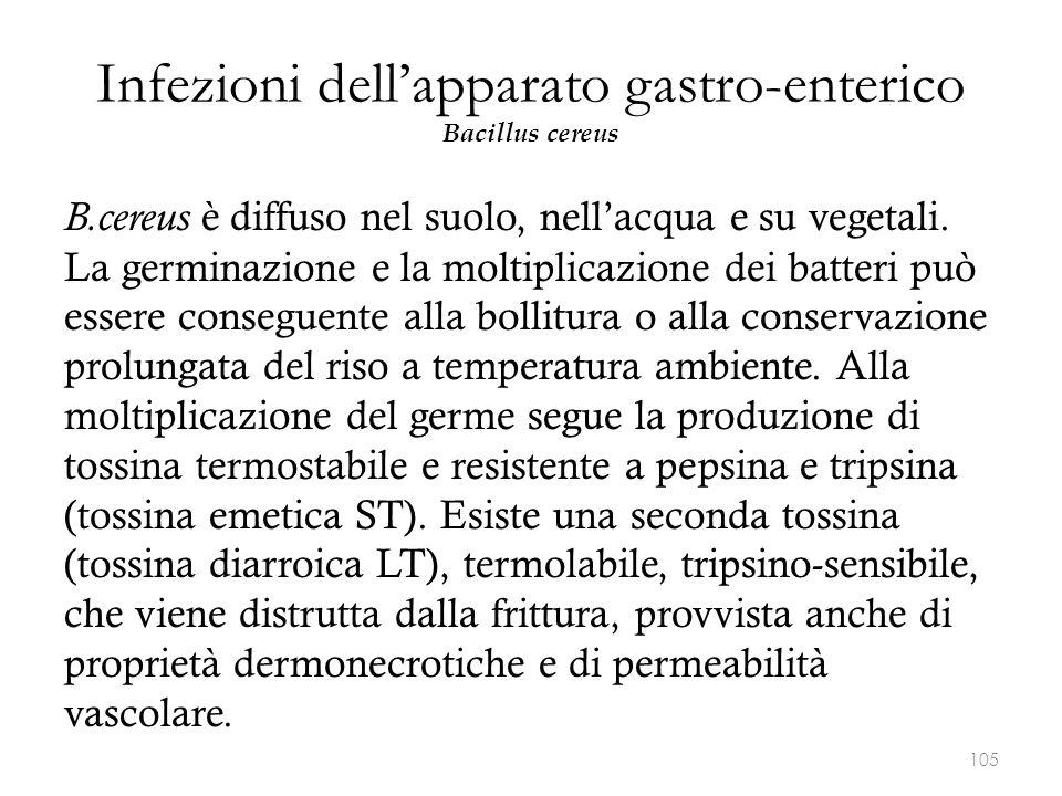 Infezioni dell'apparato gastro-enterico Bacillus cereus B.cereus è diffuso nel suolo, nell'acqua e su vegetali. La germinazione e la moltiplicazione d