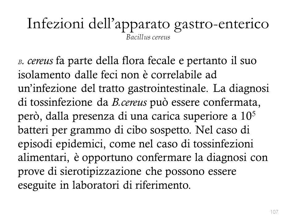 Infezioni dell'apparato gastro-enterico Bacillus cereus B. cereus fa parte della flora fecale e pertanto il suo isolamento dalle feci non è correlabil