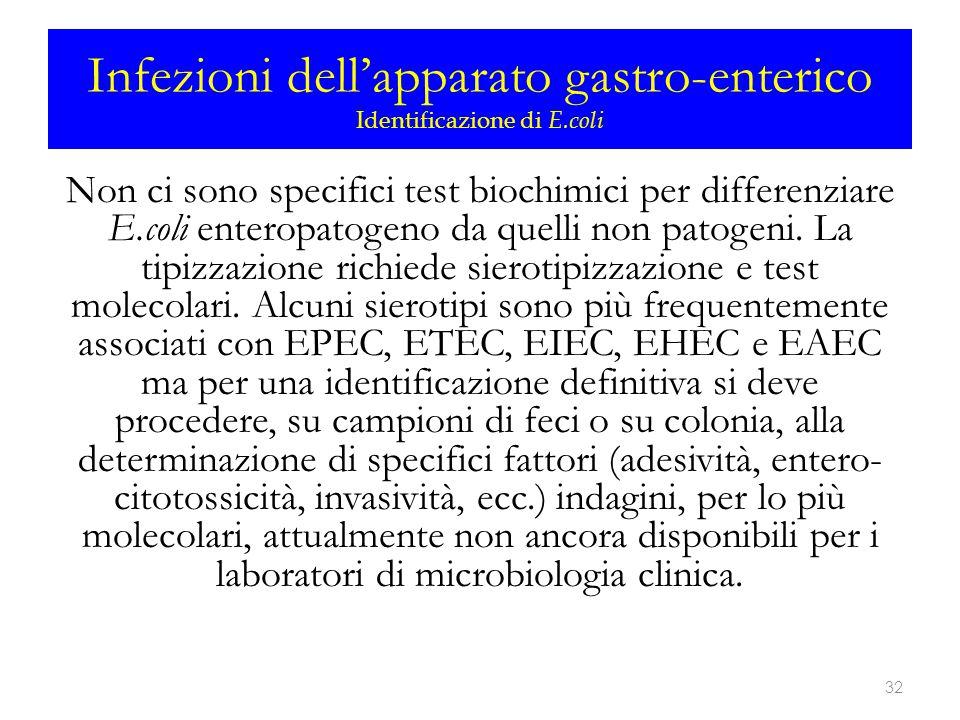 Infezioni dell'apparato gastro-enterico Identificazione di E.coli Non ci sono specifici test biochimici per differenziare E.coli enteropatogeno da que
