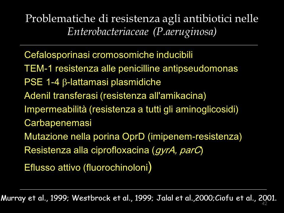 Problematiche di resistenza agli antibiotici nelle Enterobacteriaceae (P.aeruginosa) Cefalosporinasi cromosomiche inducibili TEM-1 resistenza alle pen