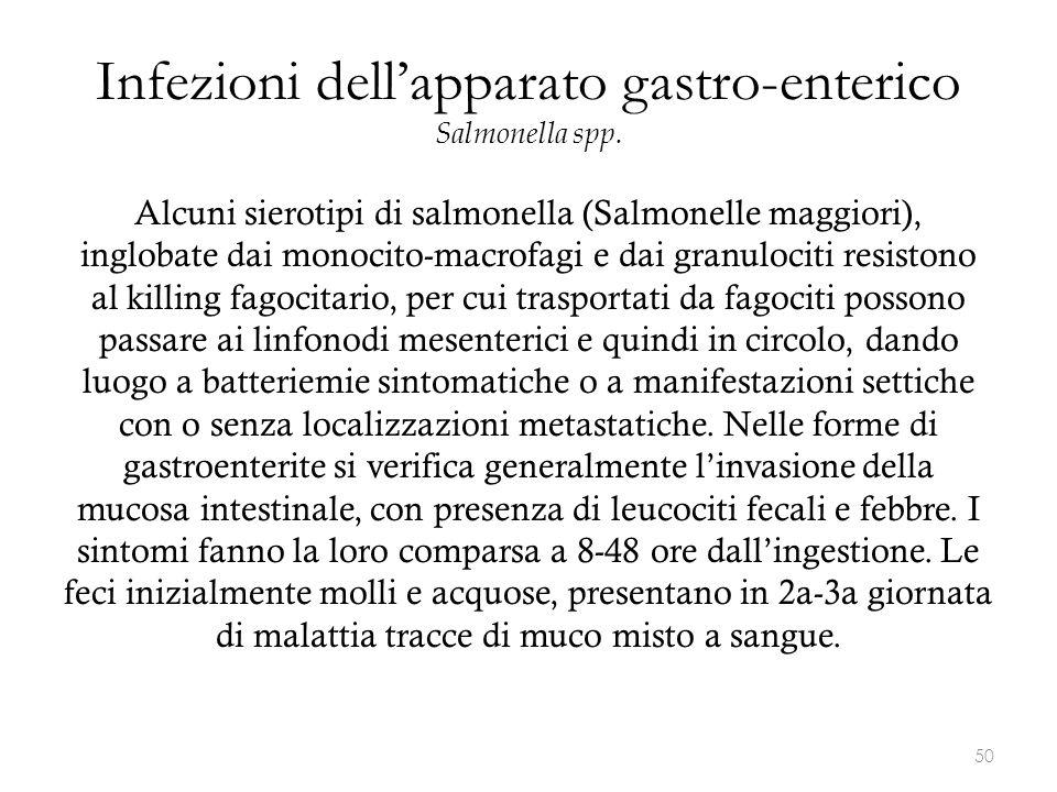 Infezioni dell'apparato gastro-enterico Salmonella spp. Alcuni sierotipi di salmonella (Salmonelle maggiori), inglobate dai monocito-macrofagi e dai g