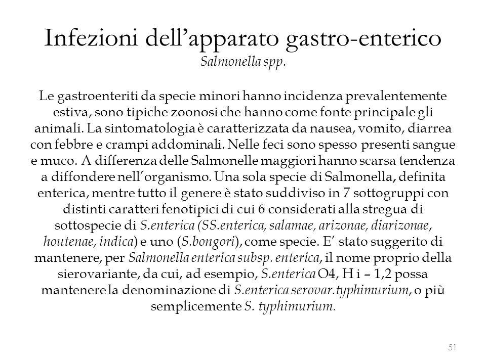 Infezioni dell'apparato gastro-enterico Salmonella spp. Le gastroenteriti da specie minori hanno incidenza prevalentemente estiva, sono tipiche zoonos