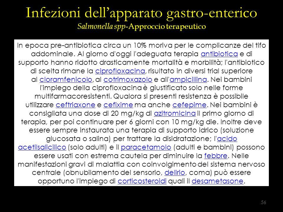 Infezioni dell'apparato gastro-enterico Salmonella spp -Approccio terapeutico In epoca pre-antibiotica circa un 10% moriva per le complicanze del tifo