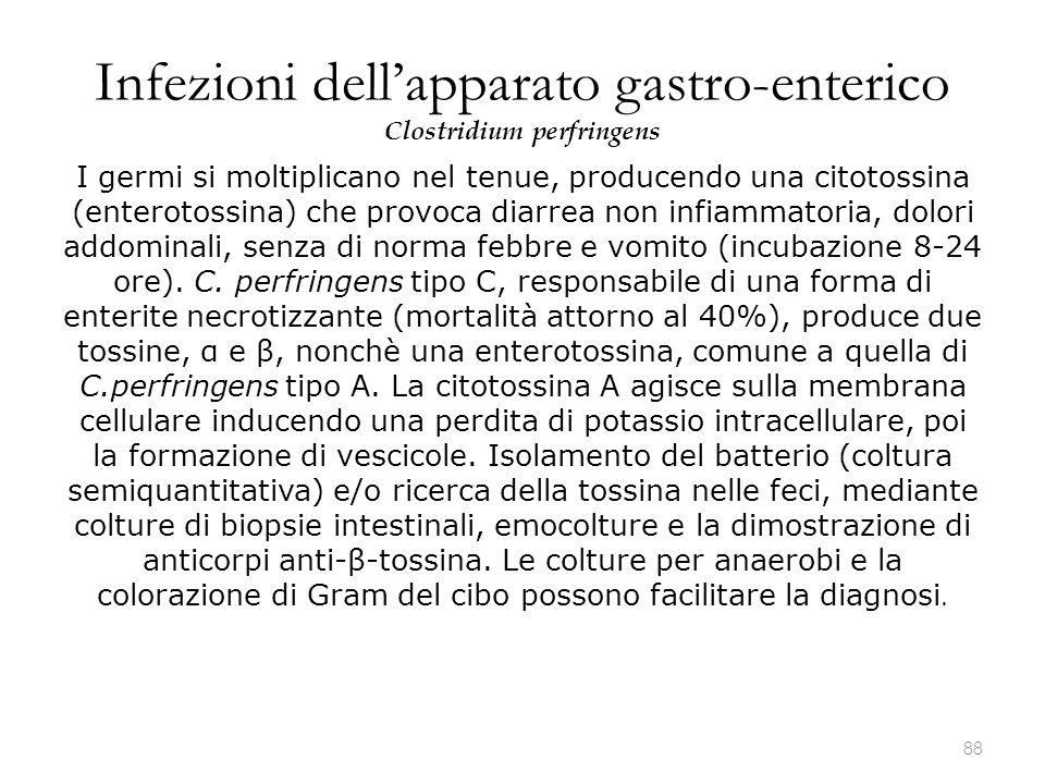 Infezioni dell'apparato gastro-enterico Clostridium perfringens I germi si moltiplicano nel tenue, producendo una citotossina (enterotossina) che prov