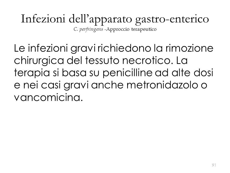 Infezioni dell'apparato gastro-enterico C. perfringens - Approccio terapeutico Le infezioni gravi richiedono la rimozione chirurgica del tessuto necro