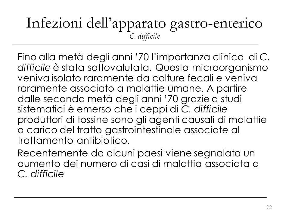 Infezioni dell'apparato gastro-enterico C. difficile Fino alla metà degli anni '70 l'importanza clinica di C. difficile è stata sottovalutata. Questo