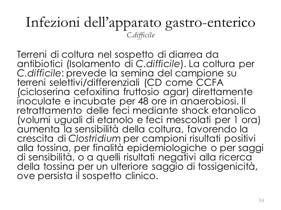 Terreni di coltura nel sospetto di diarrea da antibiotici (Isolamento di C.difficile). La coltura per C.difficile: prevede la semina del campione su t
