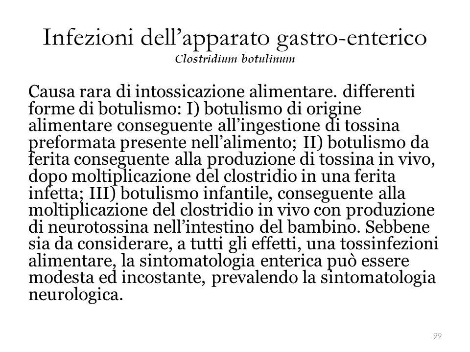 Infezioni dell'apparato gastro-enterico Clostridium botulinum Causa rara di intossicazione alimentare. differenti forme di botulismo: I) botulismo di