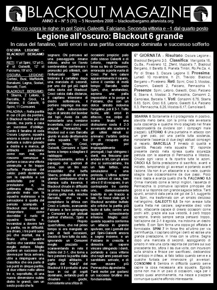 BLACKOUT MAGAZINE ANNO 4 – N° 5 (70) – 5 Novembre 2008 – blackoutbergamo.altervista.org Attacco sopra le righe: in gol Spini, Galeotti, Falciano.