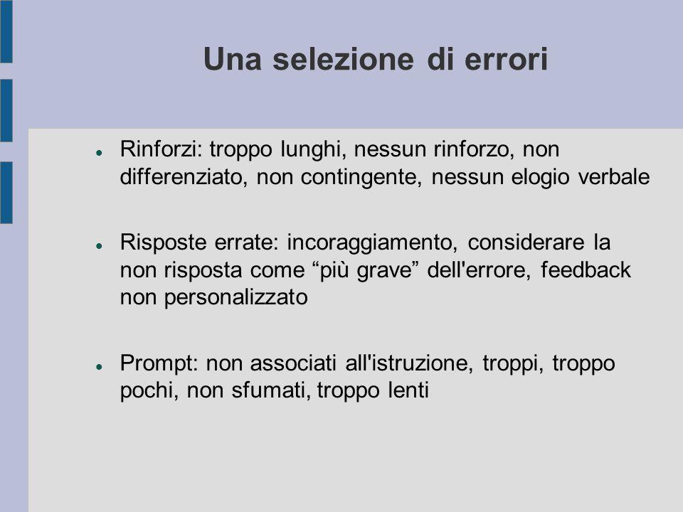 Una selezione di errori Rinforzi: troppo lunghi, nessun rinforzo, non differenziato, non contingente, nessun elogio verbale Risposte errate: incoraggi