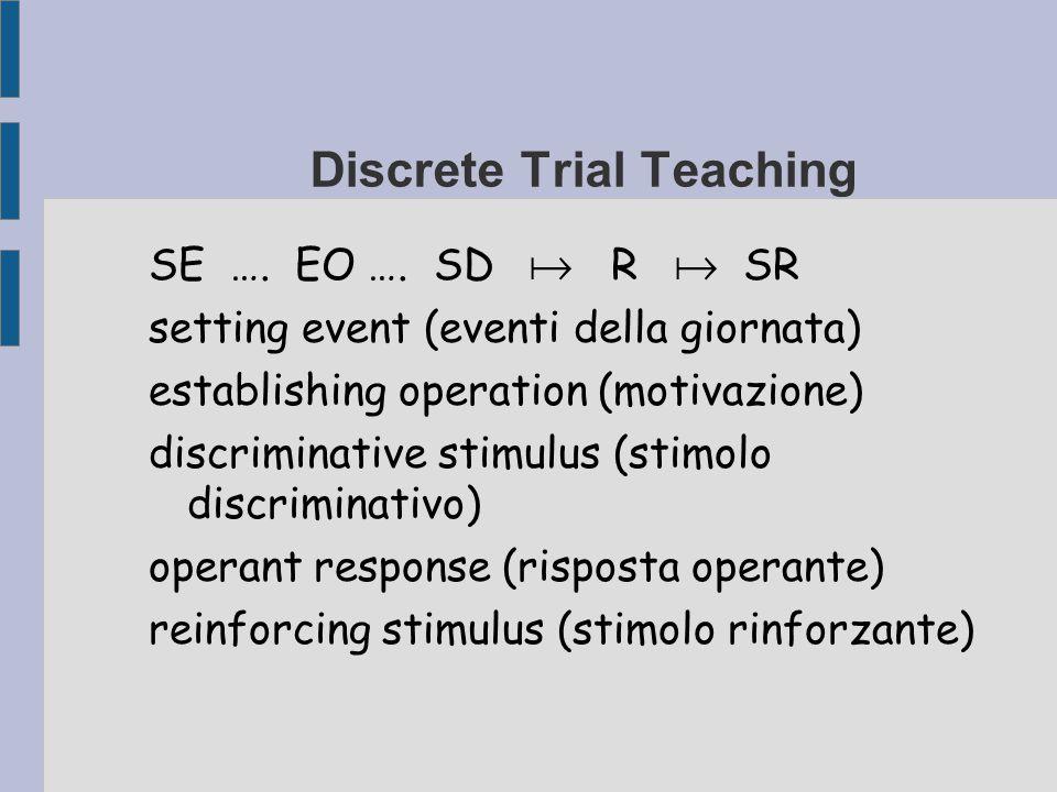 Discrete Trial Teaching SE …. EO …. SD  R  SR setting event (eventi della giornata) establishing operation (motivazione) discriminative stimulus (st