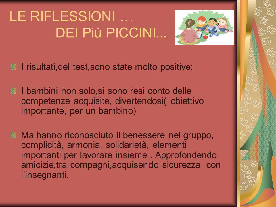 LE RIFLESSIONI … DEI Più PICCINI...