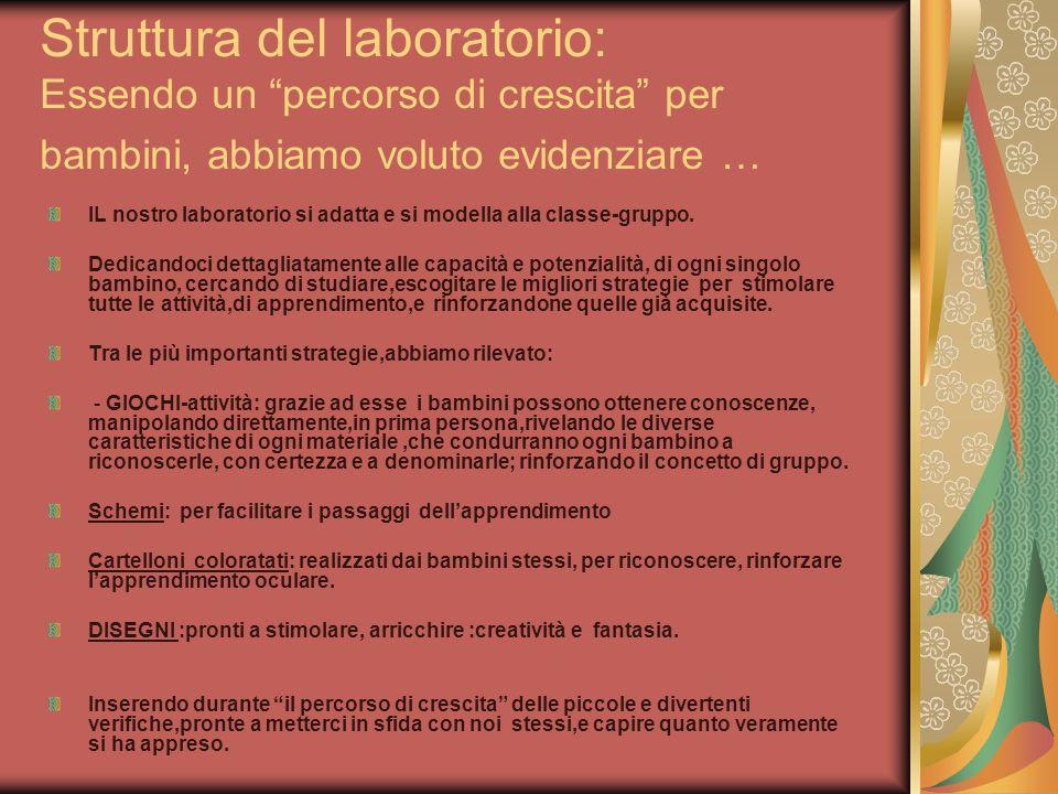 Struttura del laboratorio: Essendo un percorso di crescita per bambini, abbiamo voluto evidenziare … IL nostro laboratorio si adatta e si modella alla classe-gruppo.