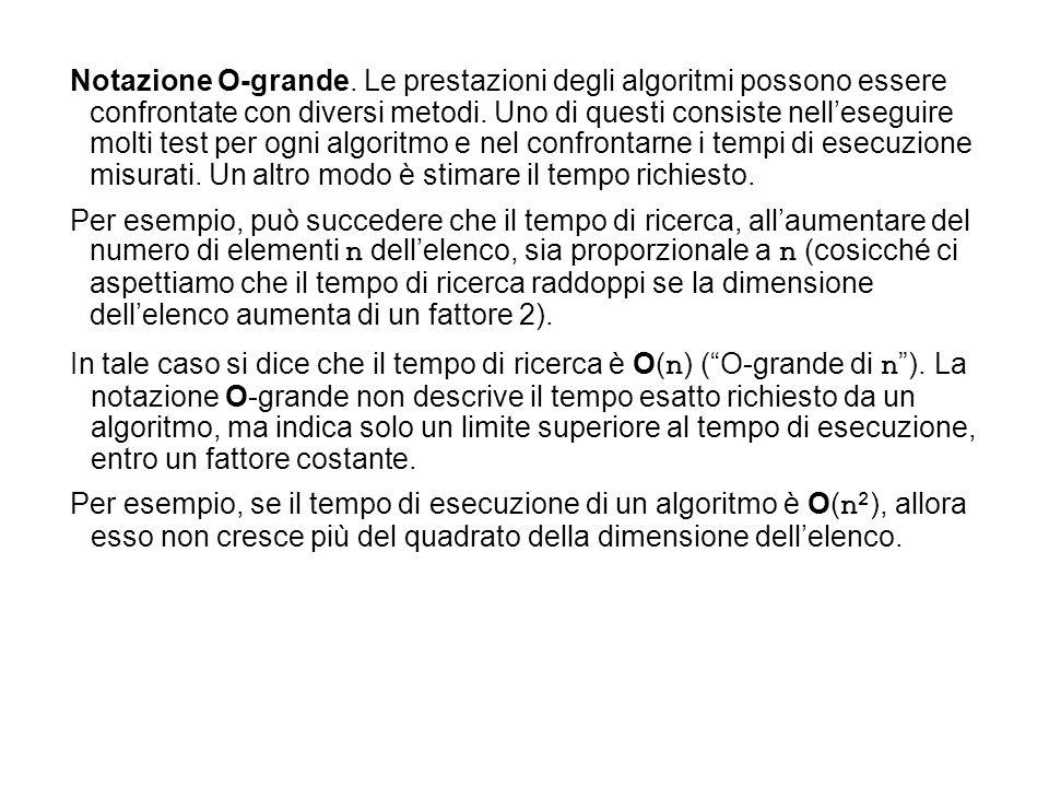 Notazione O-grande. Le prestazioni degli algoritmi possono essere confrontate con diversi metodi. Uno di questi consiste nell'eseguire molti test per