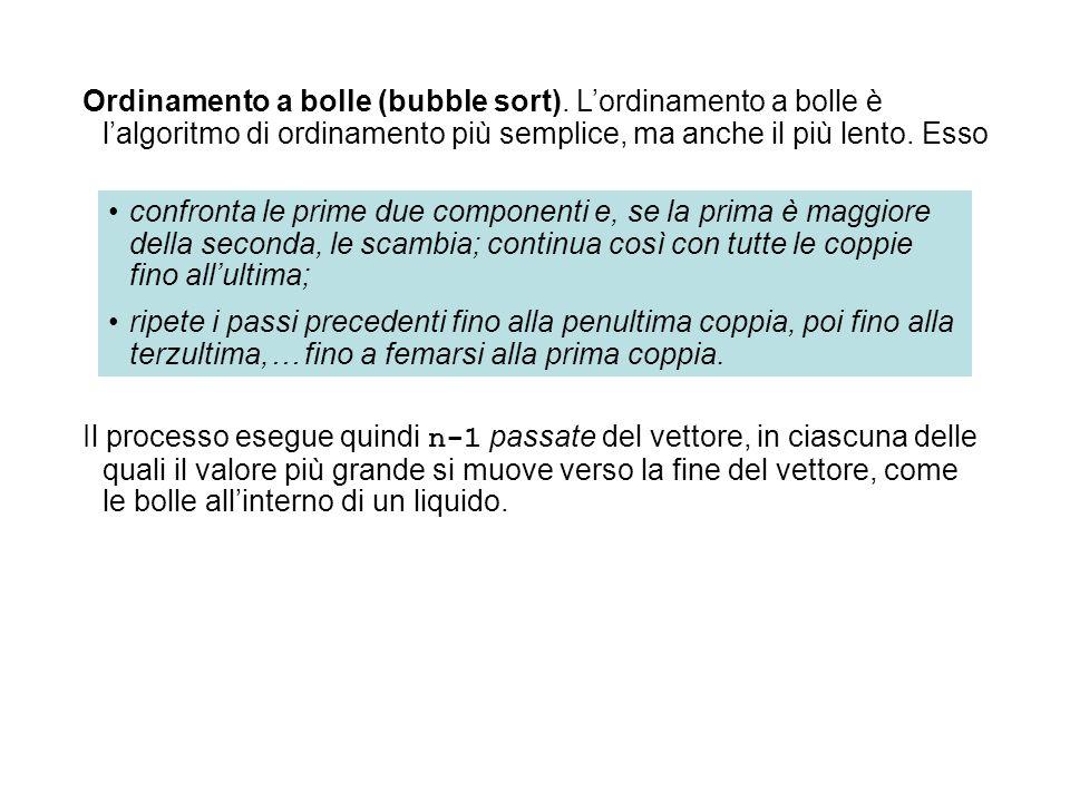 Ordinamento a bolle (bubble sort). L'ordinamento a bolle è l'algoritmo di ordinamento più semplice, ma anche il più lento. Esso Il processo esegue qui