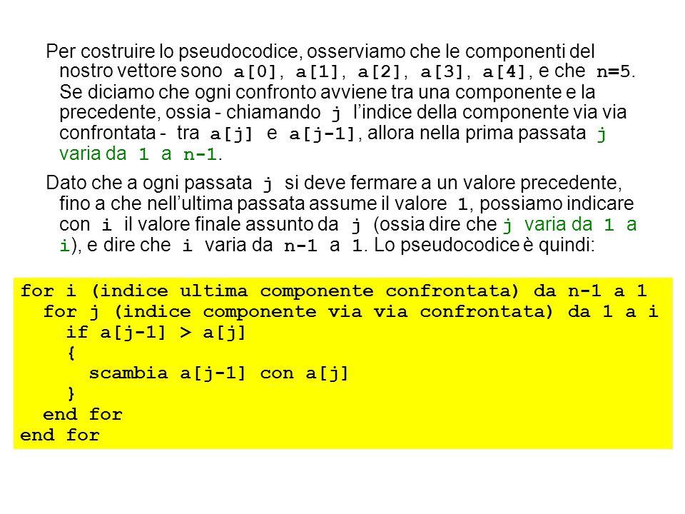 Per costruire lo pseudocodice, osserviamo che le componenti del nostro vettore sono a[0], a[1], a[2], a[3], a[4], e che n=5. Se diciamo che ogni confr