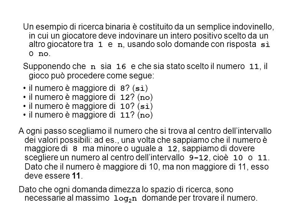 Un esempio di ricerca binaria è costituito da un semplice indovinello, in cui un giocatore deve indovinare un intero positivo scelto da un altro giocatore tra 1 e n, usando solo domande con risposta sì o no.